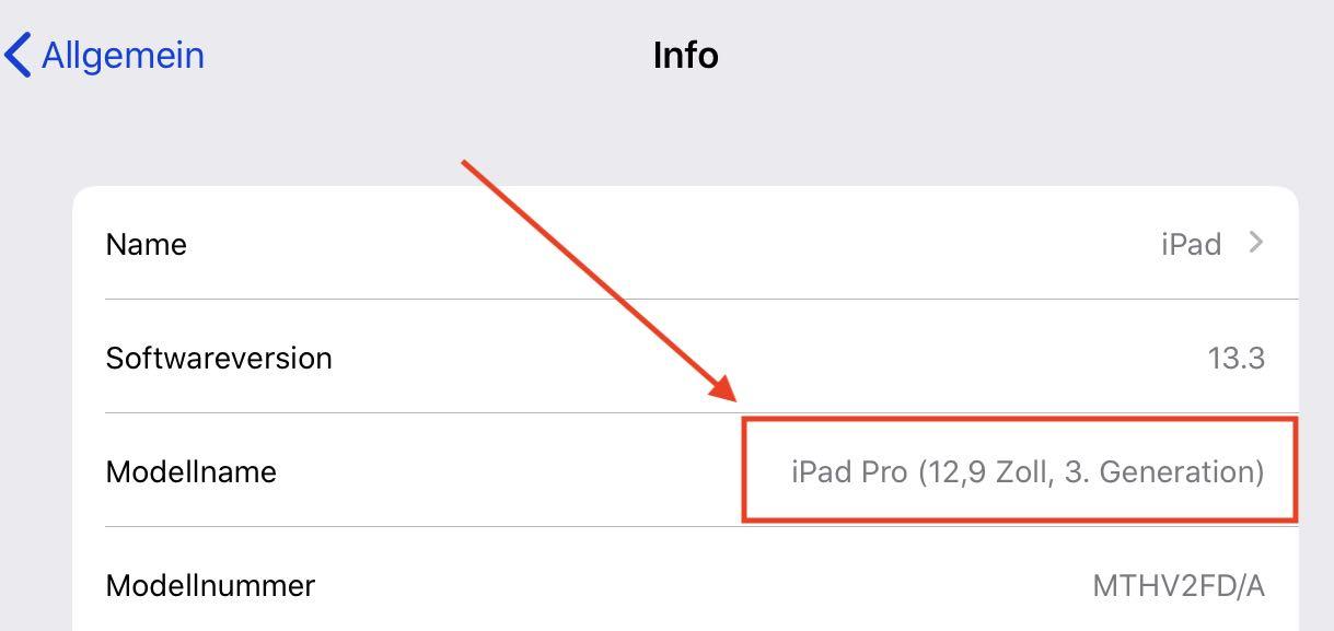 Modell bestimmen bei iPad