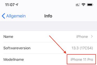 Modell bestimmen bei iPhone